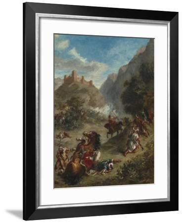 Arabs Skirmishing in the Mountains, 1863-Eugene Delacroix-Framed Giclee Print