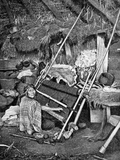 Araucanian Woman Weaving, Chile, 1922--Giclee Print