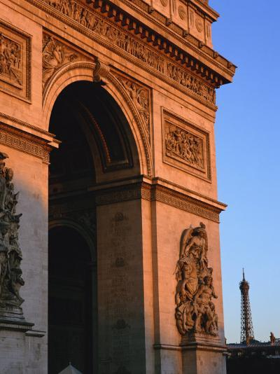 Arc De Triomphe at Dusk, with the Eiffel Tower Behind, Paris, France, Europe--Photographic Print