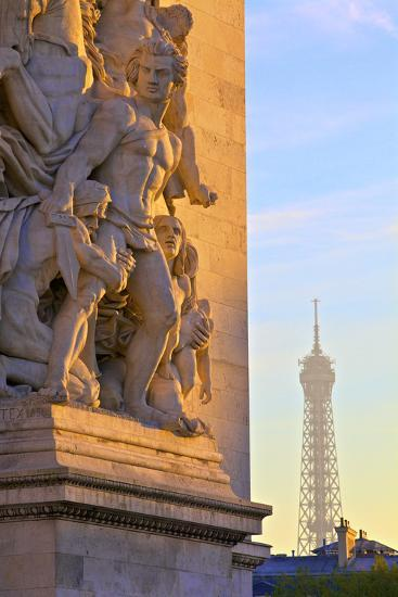 Arc De Triomphe with Eiffel Tower in the Background, Paris, France.-Neil Farrin-Photographic Print