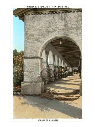 Arcade of San Fernando Mission, California--Art Print