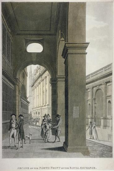 Arcade on the North Front of the Royal Exchange, City of London, 1797-Thomas II Malton-Giclee Print