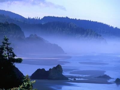Arcadia Beach Coastline from Silver Point, Oregon, USA-Roberto Gerometta-Photographic Print