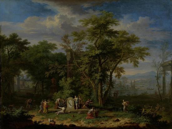 Arcadian Landscape with a Ceremonial Sacrifice-Jan van Huysum-Art Print