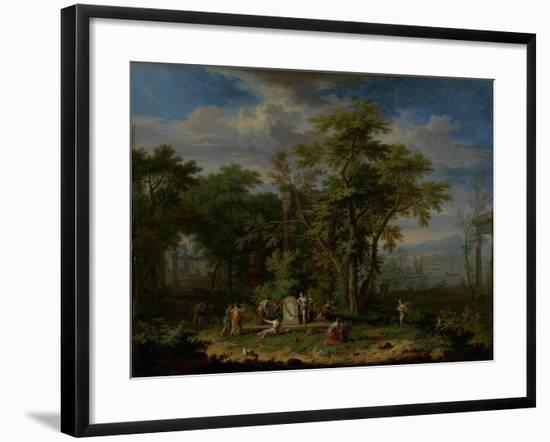 Arcadian Landscape with a Ceremonial Sacrifice-Jan van Huysum-Framed Art Print