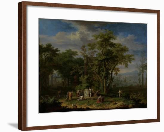 Arcadian Landscape with a Ceremonial Sacrifice-Jan van Huysum-Framed Art Print
