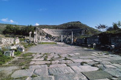 Arcadian Way and the Greek-Roman Theatre, Ephesus, Turkey, Built in Hellenistic Period Ca 200 BC--Giclee Print
