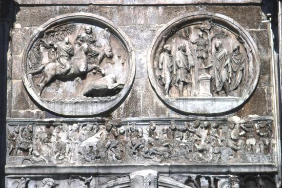 Arch of constantine Horizontal Band showing , Battle of Milvian Bridge, 313-315-Unknown-Giclee Print