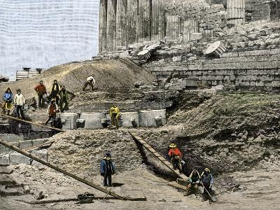 Archaeologists Excavating Ancient Ruins on the Acropolis, Athens, 1890s--Giclee Print