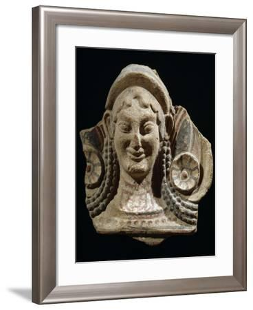 Archaic Antefix in Form of Female Head Decorated with Stylized Lotus Flowers, 6th-5th Century BC--Framed Giclee Print
