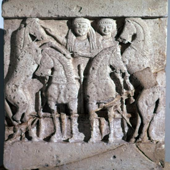 Archaic metope of Apollo and Artemis, 6th century. Artist: Unknown-Unknown-Giclee Print