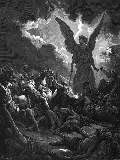 Archangel Gabriel, Instrument of God, Smiting the Camp of Sennacherib and the Assyrians, 1865-1866-Gustave Dor?-Giclee Print