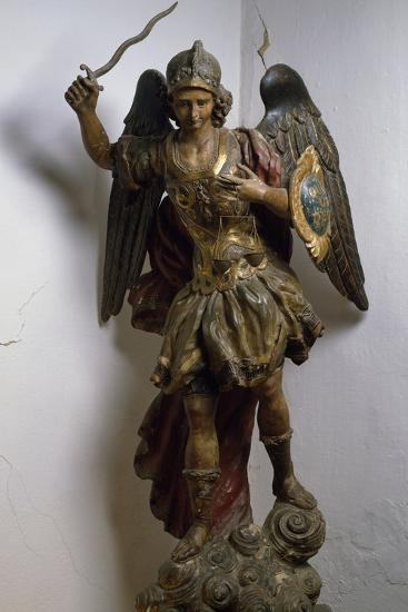 Archangel Michael, Polychrome and Gilded Wood Statue, Roman Manufacture, Italy, 17th Century--Giclee Print