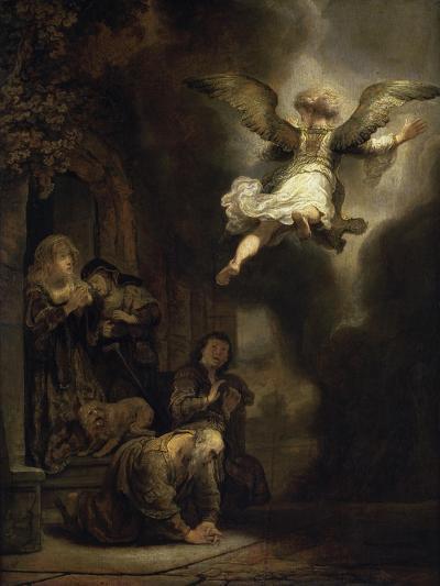 Archangel Raphael Leaving the Family of Tobias-Rembrandt van Rijn-Giclee Print