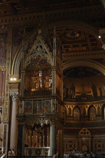 Archbasilica of St. John Lateran. Religious Celebration and Gothic Baldacchino. Rome. Italy--Photographic Print