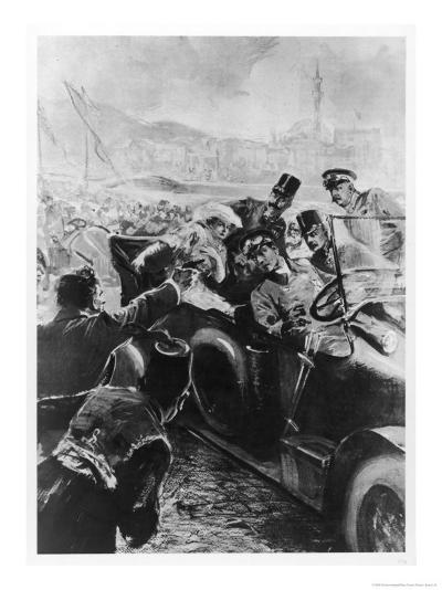 Archduke Franz Ferdinand and His Wife Assassinated in Sarajevo- Schwormstaedt-Giclee Print
