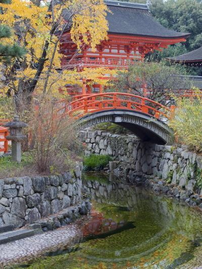 Arched Bridge and Pavilion, Shimogamo Shrine, Tadasu No Mori, Kyoto, Japan, Asia-Christian Kober-Photographic Print
