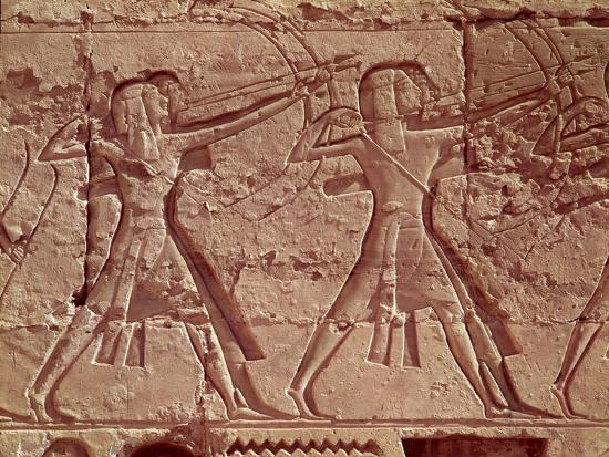 Archers, Detail from the Hunt of Ramesses III from the Mortuary Temple of Ramesses III, New Kingdom--Giclee Print