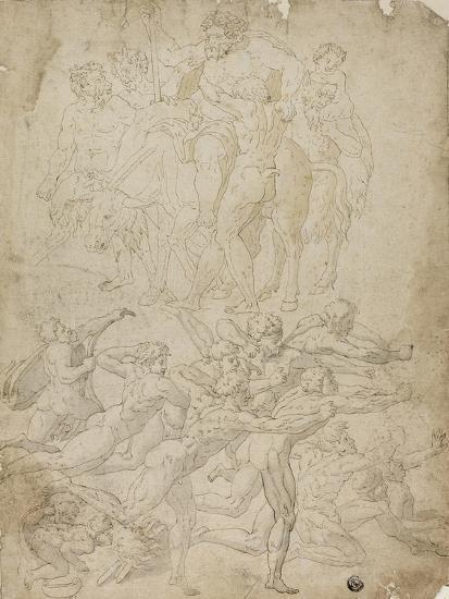 Archers Shooting at a Herm, Triumph of Bacchus, and Other Studies- Michelangelo & Perino del Vaga-Giclee Print