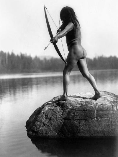 Archery: Nootka Indian-Edward S^ Curtis-Photographic Print