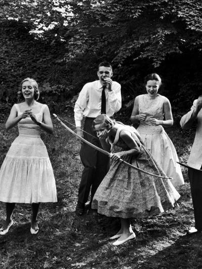 Archery Providing Entertainment at a Teenage Party-Yale Joel-Photographic Print