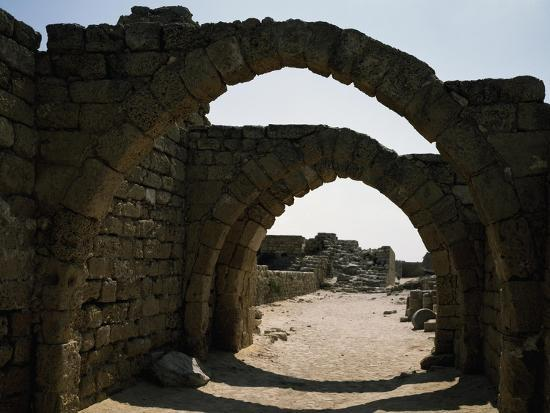 Arches in Citadel of Crusader Period, Caesarea, Israel--Giclee Print