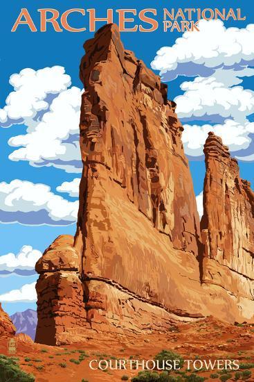 Arches National Park, Utah - Courthouse Towers-Lantern Press-Art Print