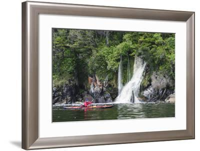 Archipelago De Los Chonos, Man Sea Kayaking, Aysen, Chile-Fredrik Norrsell-Framed Photographic Print