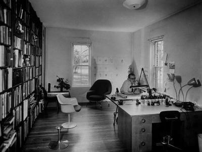 Architect Eero Saarinen Sitting in His Studio at Home--Photographic Print