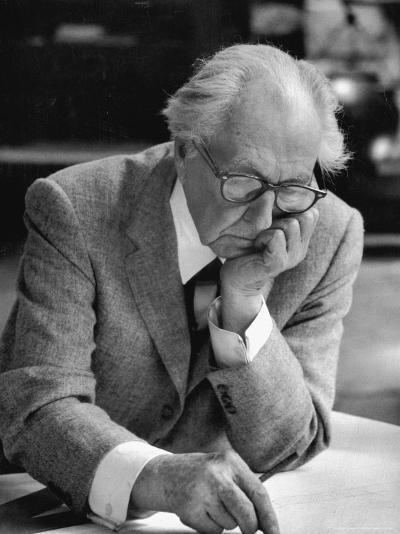 Architect Frank Lloyd Wright at Work at Taliesin-Alfred Eisenstaedt-Premium Photographic Print