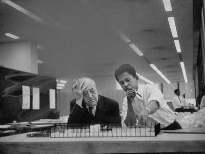 Architect Ludwig Mies Van Der Rohe Sitting at Desk W. Student at Institution of Technology School--Premium Photographic Print