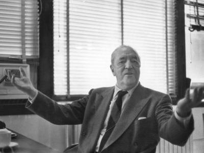 Architect Mies Van Der Rohe Expressing Feelings at His Desk