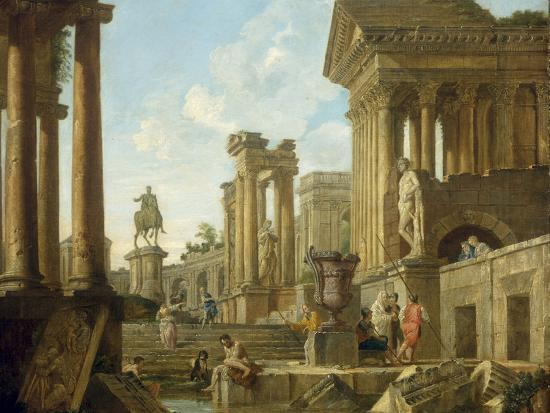 Architectural Capriccio with Ruins, Equestrian Statue of Marcus Aurelius and Figures by a Pool-Giovanni Paolo Pannini-Giclee Print