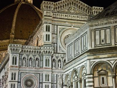Architectural Detail of a Cathedral at Night, Duomo Santa Maria Del Fiore, Florence, Tuscany, Italy--Photographic Print