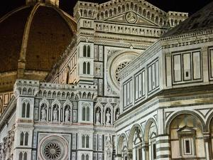 Architectural Detail of a Cathedral at Night, Duomo Santa Maria Del Fiore, Florence, Tuscany, Italy