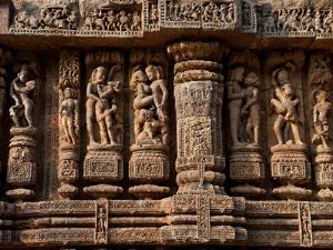 Architectural Detail of Erotic Stone Carvings in a Temple, Sun Temple, Konark, Orissa, India