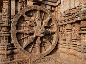 Architectural Detail of Stone Carved Chariot Wheel in the Temple, Sun Temple, Konark, Orissa, India
