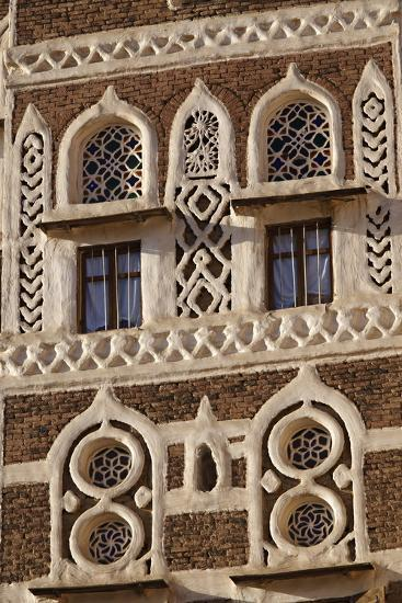 Architectural Detail, Old City of Sanaa, UNESCO World Heritage Site, Yemen, Middle East-Bruno Morandi-Photographic Print