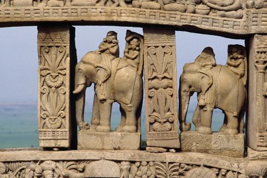 Architectural Detail with Elephants of North Gate of Great Stupa--Giclee Print