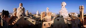 Architectural Details of Rooftop Chimneys, La Pedrera, Barcelona, Catalonia, Spain