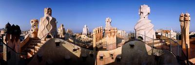 Architectural Details of Rooftop Chimneys, La Pedrera, Barcelona, Catalonia, Spain--Photographic Print
