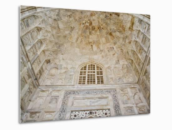 Architectural details, Taj Mahal, Agra, India-Adam Jones-Metal Print