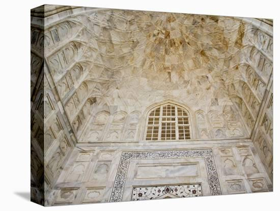 Architectural details, Taj Mahal, Agra, India-Adam Jones-Stretched Canvas Print