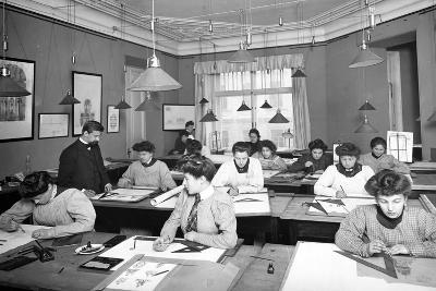 Architectural Drawing Class for Women Students in St. Petersburg--Photographic Print