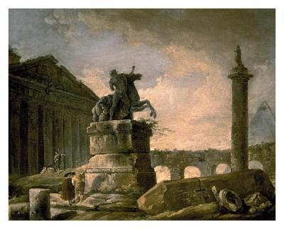 Architectural Landscape with Obelisk-Hubert Robert-Art Print