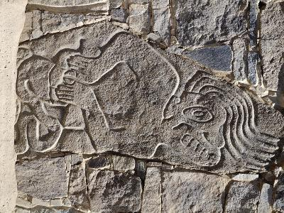 Architectural Stone Engraved with a Dying Man, from Carro Sechin--Giclee Print