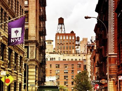 Architecture and Buildings, Greenwich Village, Nyu Flag, Manhattan, New York City, US, Art Colors-Philippe Hugonnard-Photographic Print