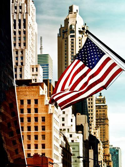 Architecture and Buildings, Skyscrapers View, American Flag, Midtown Manhattan, NYC, US, USA-Philippe Hugonnard-Photographic Print