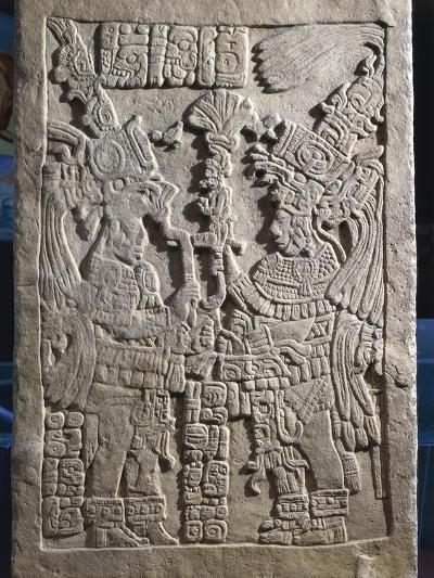 Architrave No.Holding 9 Representing Two People Holding Sceptre, from Yaxchilan, Mexico, 687 A.D.--Giclee Print