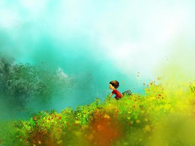 Digital Painting of Girl in Red Dress Rides a Bike in Flower Fields, Oil on Canvas Texture